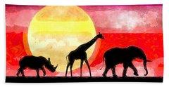 Elephant Giraffe Rhinoceros Hand Towel