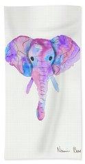 Elephant Head In Watercolour  Bath Towel