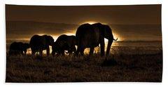 Elephant Herd On The Masai Mara Hand Towel