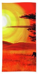 Elephant In A Bright Sunset Hand Towel