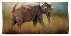 Hand Towel featuring the photograph Elephant In The Mist by David and Carol Kelly