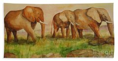 Elephant Parade Hand Towel by Vicki  Housel