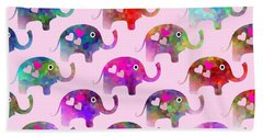 Elephant Party Bath Towel by Kathleen Sartoris