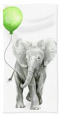 Elephant Watercolor Green Balloon Kids Room Art  Hand Towel