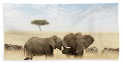 Elephants And Zebras In The Grasslands Of The Masai Mara Hand Towel