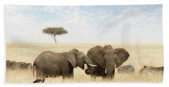Elephants And Zebras In The Grasslands Of The Masai Mara Bath Towel
