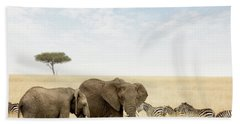 Elephants And Zebras In The Masai Mara Hand Towel