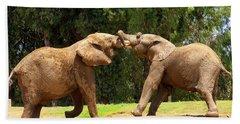 Elephants At Play 2 Hand Towel