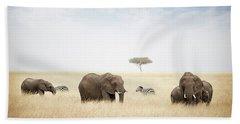 Elephants Grazing In Kenya Africa Bath Towel