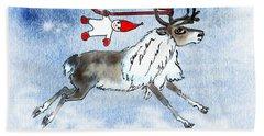 Elf And Reindeer Hand Towel