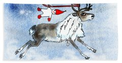 Elf And Reindeer Bath Towel