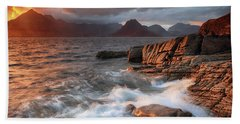 Hand Towel featuring the photograph Elgol Stormy Sunset by Grant Glendinning