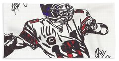 Bath Towel featuring the drawing Eli Manning by Jeremiah Colley