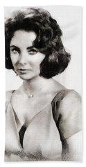 Elizabeth Taylor, Vintage Hollywood Legend By John Springfield Hand Towel by John Springfield