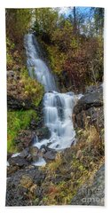Elk Creek Waterfall Waterscape Art By Kaylyn Franks Bath Towel