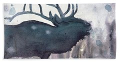 Hand Towel featuring the painting Elk by Dawn Derman