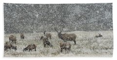 Elk Harem In Falling Snow Bath Towel