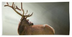 Bath Towel featuring the photograph Elk In Suns Rays by David and Carol Kelly