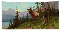 Elk In The Mountains Hand Towel