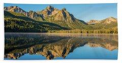 Elk Mountain Reflections With Merganser Ducklings Bath Towel