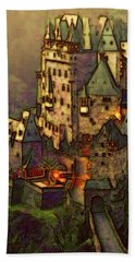 Hand Towel featuring the digital art Eltz Castle by Michael Cleere