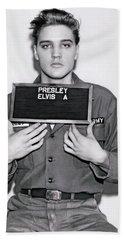 Elvis Army Mugshot 1960 Hand Towel