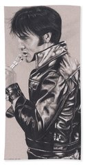 Elvis In Charcoal #177, No Title Hand Towel