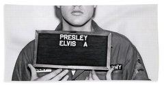 Elvis Presley Army Mugshot 1960 Hand Towel