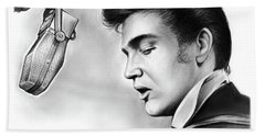 Elvis Presley Hand Towel by Greg Joens