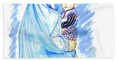 Embroidered Blue Lady-cage -- Woman In Burka Bath Towel