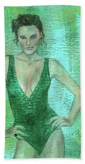 Bath Towel featuring the painting Emerald Greem by P J Lewis