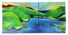 Hand Towel featuring the painting Emerald Isles by Elizabeth Fontaine-Barr