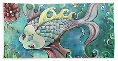 Bath Towel featuring the painting Emerald Koi by Shadia Derbyshire