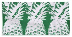 Hand Towel featuring the mixed media Emerald Pineapples- Art By Linda Woods by Linda Woods