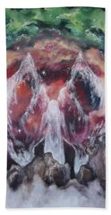 Hand Towel featuring the painting Emerald Rainbow by Cheryl Pettigrew