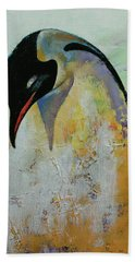 Emperor Penguin Hand Towel by Michael Creese