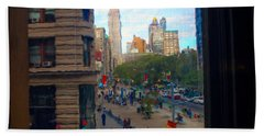 Hand Towel featuring the photograph Empire State Building - Crackled View 2 by Madeline Ellis