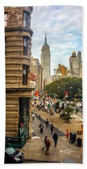 Hand Towel featuring the photograph Empire State Building - Crackled View 3 by Madeline Ellis