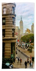 Hand Towel featuring the photograph Empire State Building - Crackled View by Madeline Ellis