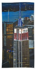 Bath Towel featuring the painting Empire State by Donna Blossom