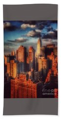 Hand Towel featuring the photograph Empire State In Gold by Miriam Danar