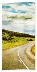 Empty Asphalt Road In Countryside Hand Towel