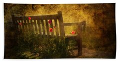 Empty Bench And Poppies Bath Towel