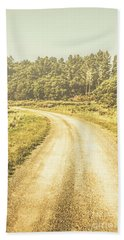 Empty Curved Gravel Road In Tasmania, Australia Bath Towel