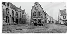 Empty Streets In Bruges On A Misty Morning Bath Towel