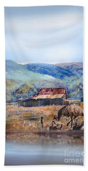 Hand Towel featuring the painting Emu And Chicks, Australian Landscape by Ryn Shell