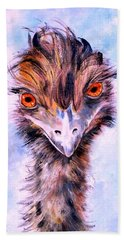 Hand Towel featuring the painting Emu Eyes by Ryn Shell