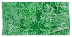 Encaustic Abstract Green Foliage Bath Towel