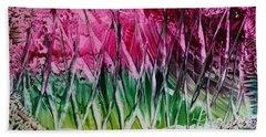 Encaustic Abstract Pinks Greens Bath Towel