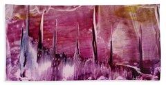 Encaustic Purple-pink Abstract Castles Hand Towel